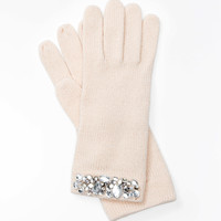 Embellished Ribbed Gloves