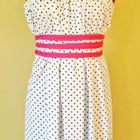 Cotton Jersey Knit White with Black Polka Dot Printed SACK Dress