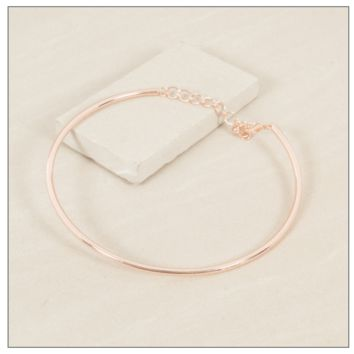 GLAM GALA METAL NARROW FITTED COLLAR CHOCKER NECKLACE - ROSE GOLD