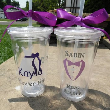 Ring Bearer And Flower Girl Tumbler Set, Ring Bearer Gift, Flower Girl Tumbler, Ring Bearer Cup, Flower Girl Cup, Flower Girl Gift