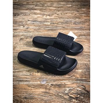 Adidas Benassi Swoosh Sandals Style #7 Black Slippers - Sale