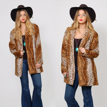 Vintage 80s LEOPARD Jacket CHEETAH Print SWING Coat Animal Print Light Jacket