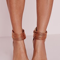 Missguided - Metallic Ankle Strap Barely There Heels Rose Gold