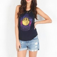 Free People Lace & Stripe Graphic Tank in Midnight Combo   SINGER22.com