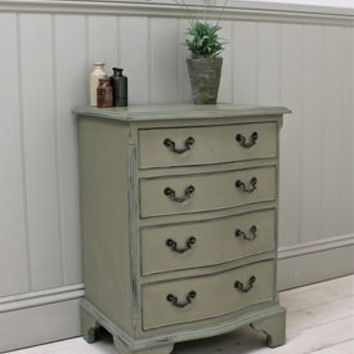 Distressed Vintage Serpentine Fronted Chest Of Drawers