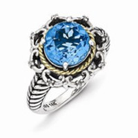 Sterling Silver w/14k Yellow Gold Antiqued Blue Topaz and Diamond Ring