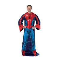 Spiderman-Blue on Blue Adult Comfy Throw Blanket with Sleeves