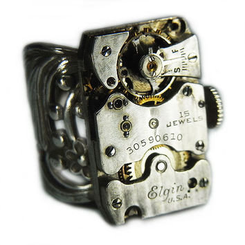 Men's or Women's STEAMPUNK Ring Jewelry - Watch Movement Torch SOLDERED - Vintage Rectangular 1928 ELGIN w/ Pin Stripes & Orignal Crown