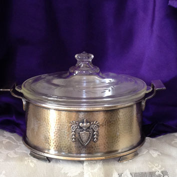 Rogers Bros 1847 Heraldic Hammered Silver Plated Aluminum Server 1916 Pattern with Antique Pyrex Etched Floral Lid, Glasbake Insert-Mono