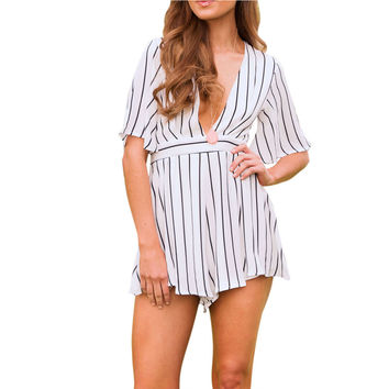 2017 Summer Women Romper Sexy Deep V-neck Striped Short Jumpsuit Half Sleeve Playsuit Flare Fit Overalls Beach Party Bodysuit u2