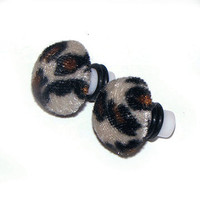 Plugs for Gauged Ears - Retro Kitsch Fabric Leopard Print animal print - 1 Pair (2pcs) Choose Size (8mm,10mm) (0g, 00g) Acrylic with o-rings