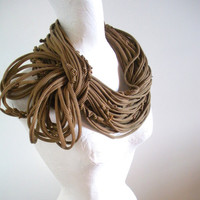 Steampunk Black Brown Striped Infinity Scarf Upcycled Clothing Khaki Striped Spring Fashion Chunky Circle Scarf