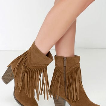 Badlands Tan Suede Mid-Calf Fringe Boots