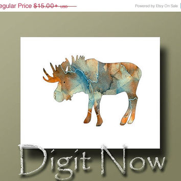 ON SALE Moose Silhouette Watercolor Animal Print Poster Nursery and Kids Room Decor Wall Art W14063