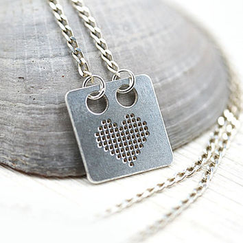 Pixel Heart Necklace, gift for geek, 8 bit Silver Heart, Layering Necklace, Gamer, Pixelated, Nintendo, Nerd, Retro Gaming
