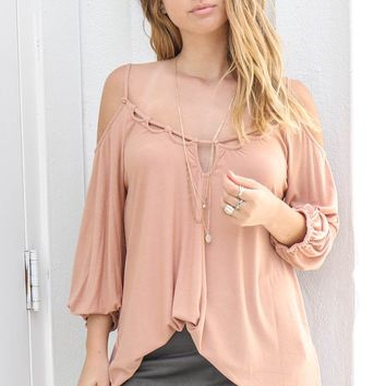 Fetish For My Love Caramel Cold Shoulder Blouse
