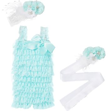 Mint Lace Ruffle Romper with Sash & Headband
