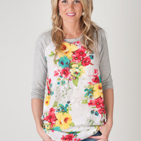 Floral Print Baseball Tunic - 3 Colors