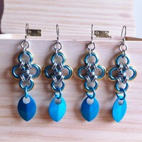 Turquoise gold silver Japanese Cross Earrings with chainmaille scales