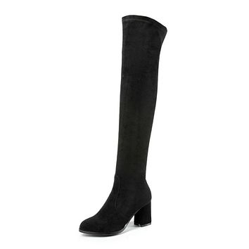Flock Tall Boots Winter Shoes for Woman 1377