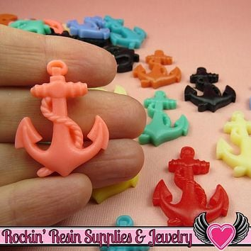 6 pcs ANCHOR Nautical Flatback Resin Decoden Cabochons 32x24mm