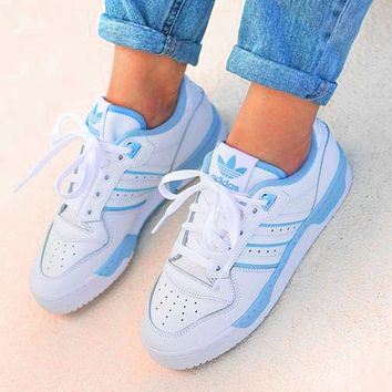 ADIDAS RIVALRY Clover Trending Flat Shoes Classic Sneakers White-blue line