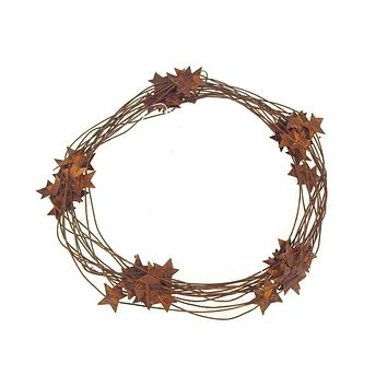 Metal Vintage Rusty Star Garland, 7-1/4-inch