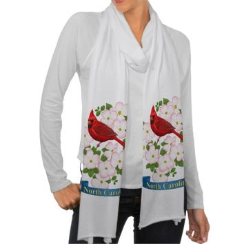 North Carolina State Cardinal Bird Dogwood Flower Scarf