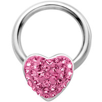 "14 Gauge 1/2"" Pink Heart Crystal Ice Captive Nipple Ring 