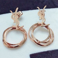 YSL fashionable personality letter ear nail hang three rings black and white shell eardrop female earring