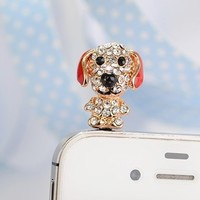 Dust Plug- Earphone Jack Accessories Crystal Lovely Red Ear Pug (Dog)/ Cell Charms / Ear Jack for Iphone 4 4s / Ipad / Ipod Touch / Other 3.5mm Ear Jack (With Cutely Gift Box)