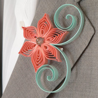 Mint Green, Coral, Flower Boutonniere, Groomsmen Gift, Coral and Mint Wedding, Summer Weddings, Alternative Boutonniere, Keepsake Buttonhole