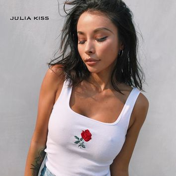 Women Lovely Embroidered Rose Crop Tank Tops