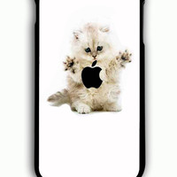 iPhone 6 Plus Case - Rubber (TPU) Cover with eating cat with logo apple Rubber Case Design