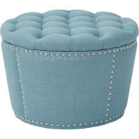 Lacey Tufted Storage Ottoman Set, Milford Capri Fabric (2pc Set)