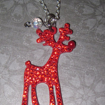 Christmas Reindeer Necklace Rudolph Necklace Christmas Jewelry Glam Red Rhinestones Charm Pendant Chain Necklace Free Shipping to US/Canada
