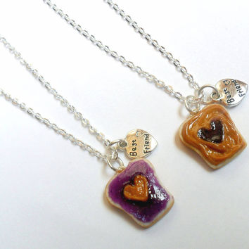 Peanut Butter Jelly Heart Necklace Set, Best Friend's BFF Charm Necklace, Cute :D