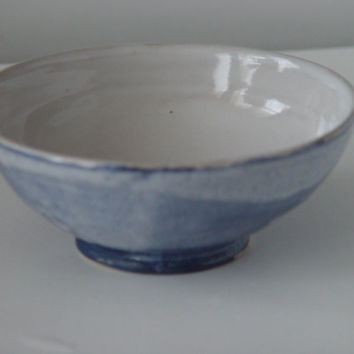 6 Inch Blue Kitchen Cereal Bowl, Serving dish or Ring Holder, Wheel Thrown stoneware pottery ceramic