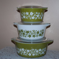 Vintage Three Piece Spring Blossom Avocado by AGlimpseFromthePast