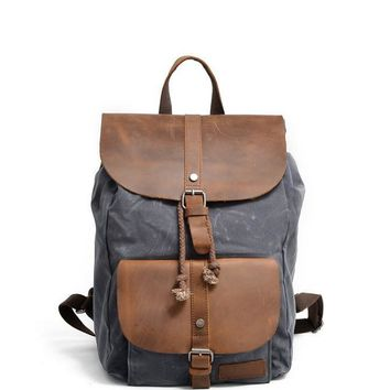 Large Crazy Horse Leather Canvas Backpack for Men Teenagers School Back Pack designer backpack