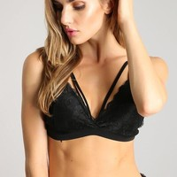 Aries Strappy Lace Bralette - Black