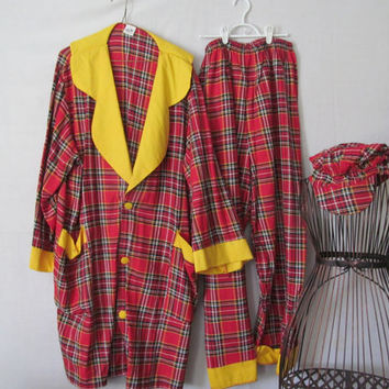 Adult Clown Costume Trick or Treat Clown Halloween Costume Plaid Tartan Blazer Clown Pants Oversize Large Halloween Costume Adults Clown Hat
