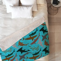 Raven Jumpo Polka Dot Sharks Fleece Throw Blanket