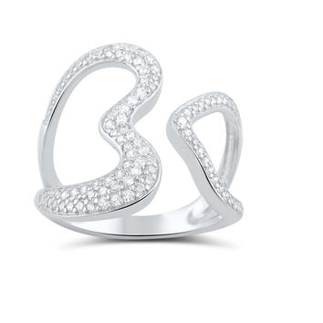 Sterling Silver Simulated Diamond Open Heart Statement Ring