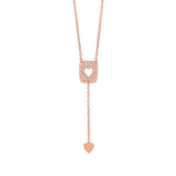0.13ct 14k Rose Gold Diamond Heart Lariat Necklace