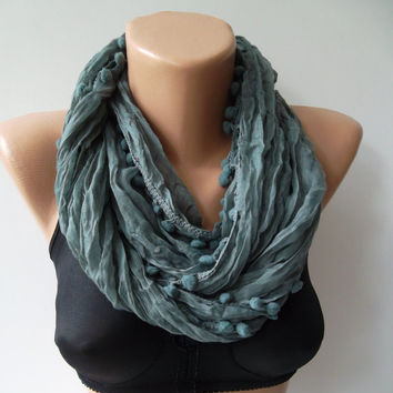 Pompom scarf ...gray  scarf...Cotton fabric...summer scarf