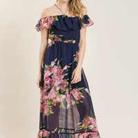Justina Navy Floral Halter Maxi Dress