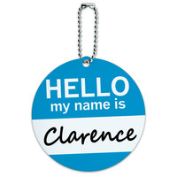 Clarence Hello My Name Is Round ID Card Luggage Tag