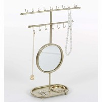 Golden Gleaming Mirror Jewelry Holder - 94608 by Benzara