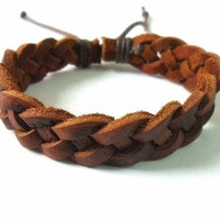 bangle leather bracelet woven bracelet women bracelet men bracelet made of brown leather woven cuff bracelet SH-1358